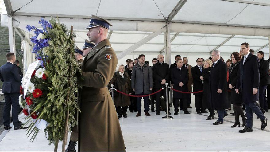 نخست وزیران اسرائیل و لهستان در مراسم یادبود قربانیان هولوکاست