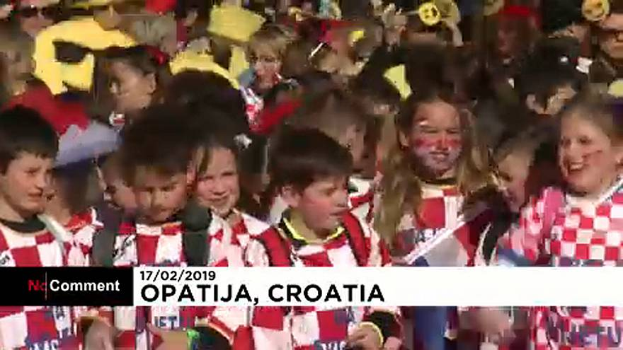 Hundreds of children take part in annual carnival in Croatia