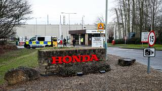 Entrada a la planta de automóviles de Honda en Swindon, Gran Bretaña.
