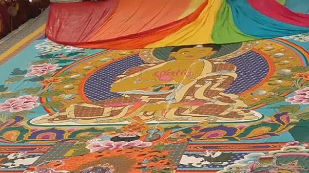 Óriási festményt mutattak be egy kínai buddhista fesztiválon
