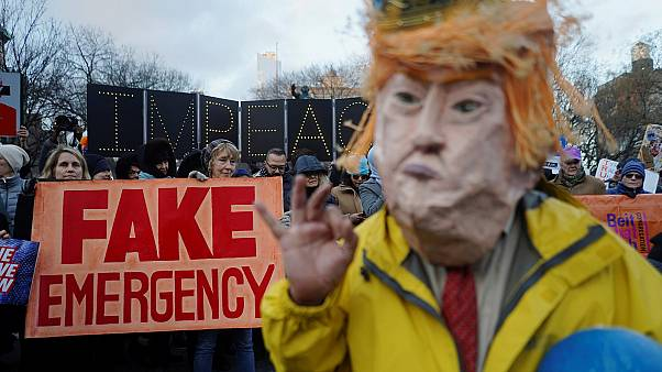 Protesters in New York demonstrate against Donald Trump on Presidents' Day