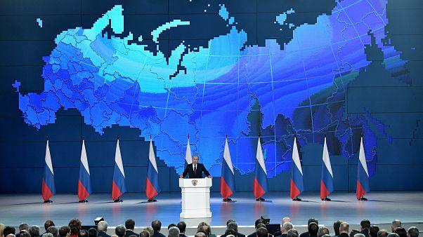 بوتين ملقياً خطاب حالة الاتحاد اليوم في موسكو أمام الجمعية الفدرالية