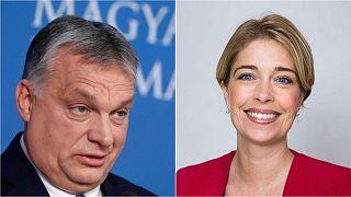 Hungary PM Viktor Orban (left) and Swedish minister Annika Strandhäll