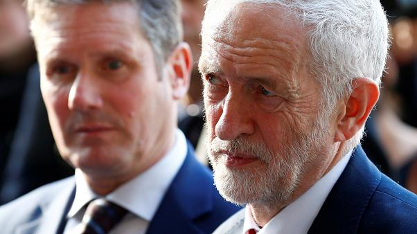 UK Labour Party leader Jeremy Corbyn with EU chief negotiator Barnier
