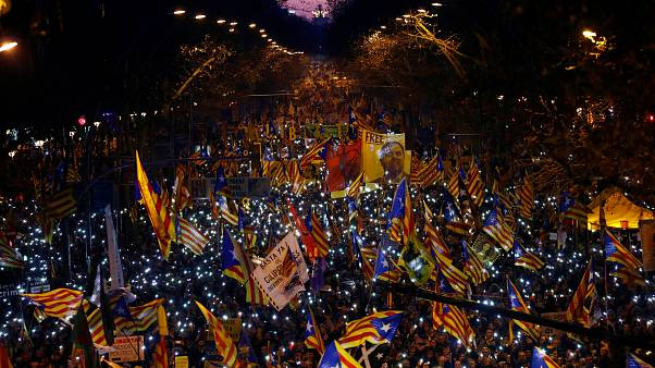 Protests take place in Barcelona over trial of Catalan separatists