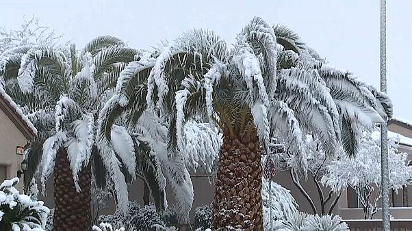 Nieve en Las Vegas por primera vez en 10 años