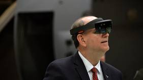 The US under secretary to the Air Force using a HoloLens on Feb 14, 2019.