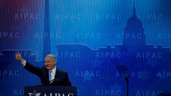 """رئيس الوزراء الإسرائيلي بنيامين نتنياهو في مؤتمر """"أيباك"""" في واشنطن 2018"""