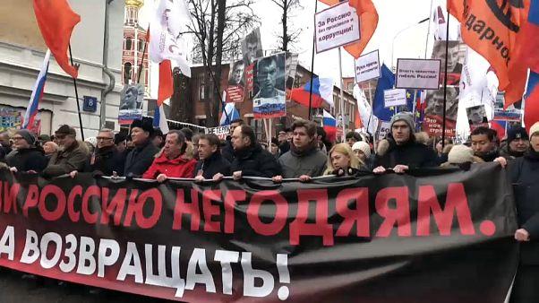Marcha en Moscú en el cuarto aniversario de la muerte del opositor Nemtsov