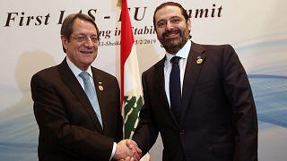 Ο Πρόεδρος Αναστασιάδης με τον πρωθυπουργό του Λιβάνου, Σαάντ Χαρίρι