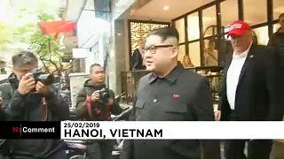 Donald Trump and Kim Jong-Un impersonators parade in Hanoi