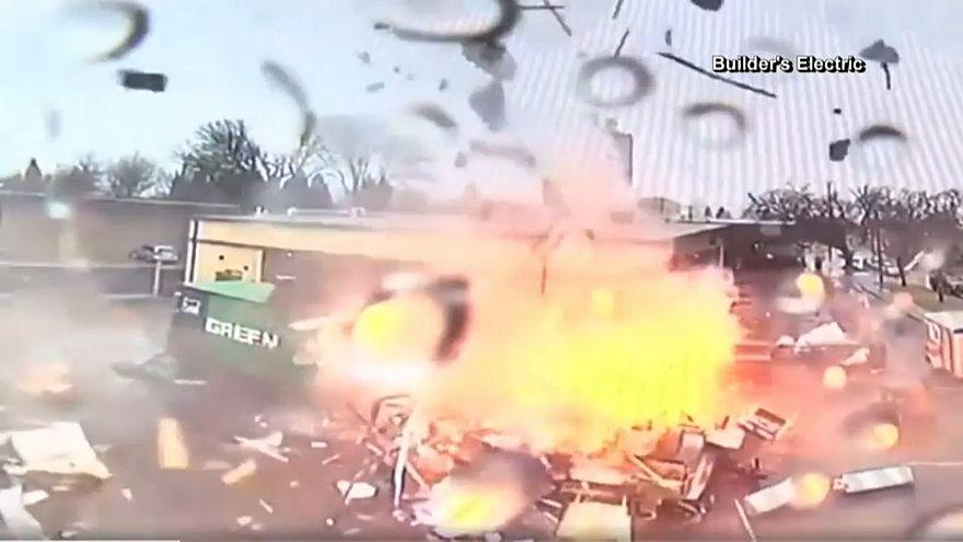 لحظة وقوع الانفجار
