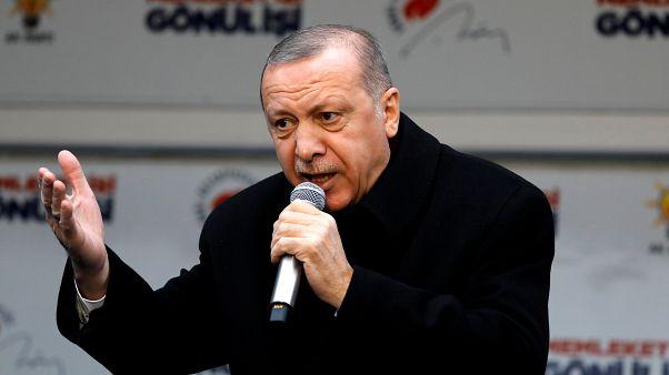 أردوغان يتحدث في اسطنبول يوم 16 فبراير شباط 2019