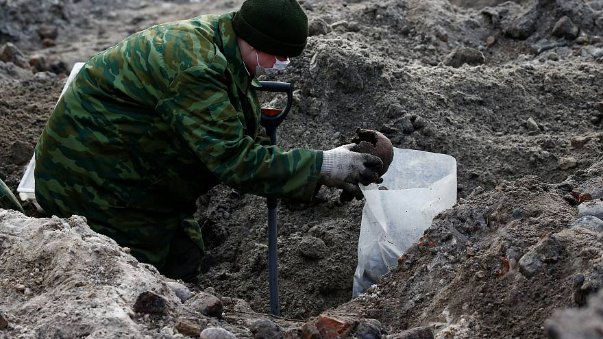 Exhumation of a Nazi-era mass grave in Belarus
