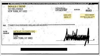 Cohen's team say he will use this cheque as evidence for hush money