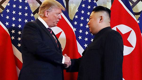 Watch: Kim and Trump shake hands before second summit in Hanoi