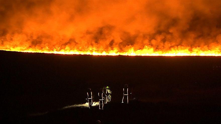 Firefighters tackle huge blaze on West Yorkshire moors