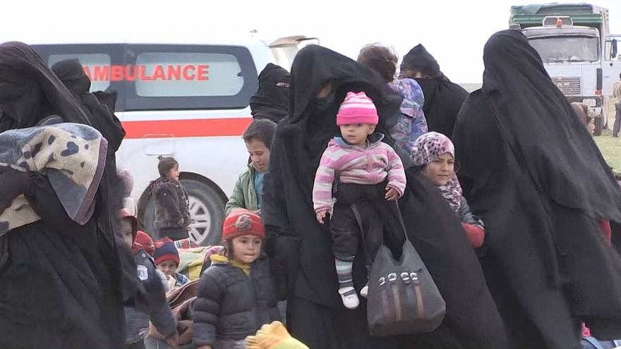 Syrian civilians arrive at screening centre as they flee last ISIS stronghold