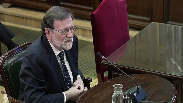 Former Spanish PM Mariano Rajoy giving evidence