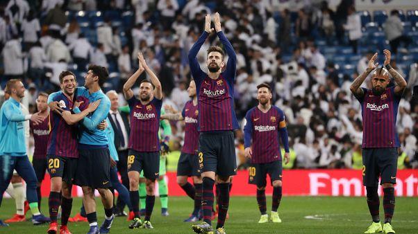 لاعبو برشلونة يحتفلون بوصولهم لنهائي كأس الملك