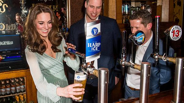 Duke and Duchess of Cambridge pull pints in Belfast