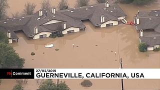 Flood waters wash over California's wine country