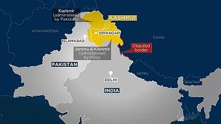 The current border between Pakistan and India running through Kashmir