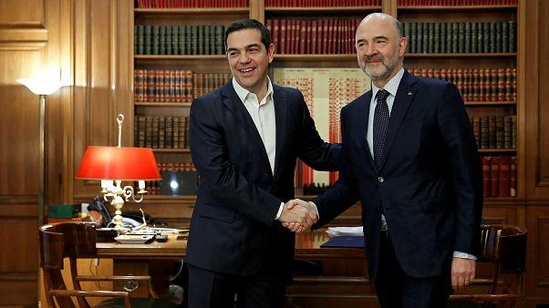 Alex Tsipras com Pierre Moscovici em Atenas