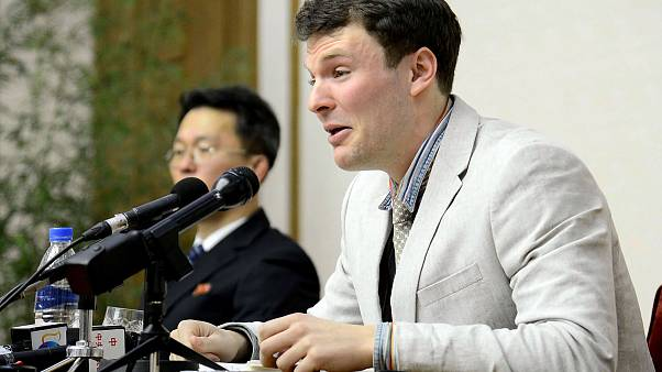 Otto Warmbier speaks at a press conference in North Korea