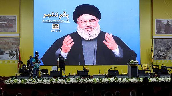 لأمين العام لحزب الله اللبناني حسن نصر الله يتحدث الى مؤيديه عبر الشاشة