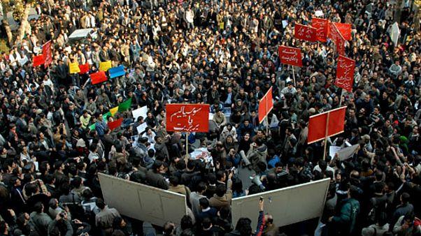 تظاهرات دانشجویان چپ در دانشگاه تهران