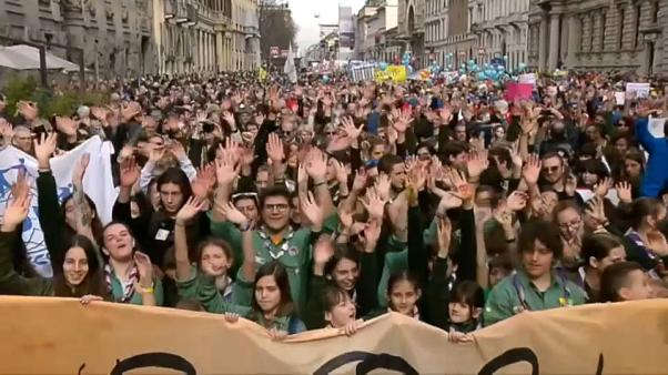 Tens of thousands protest in Milan against racism and discrimination