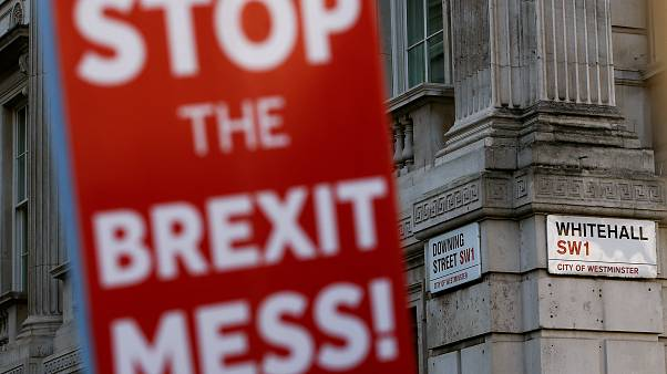 Anti-Brexit sign is seen during a protest outside Downing Street in London