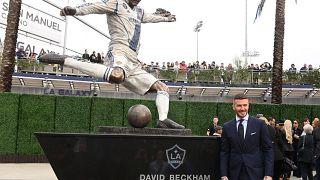 Estátua de Beckham no estádio do Galaxy
