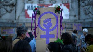 Women mark International Women's Day in Lisbon, Portugal March 8, 2017.