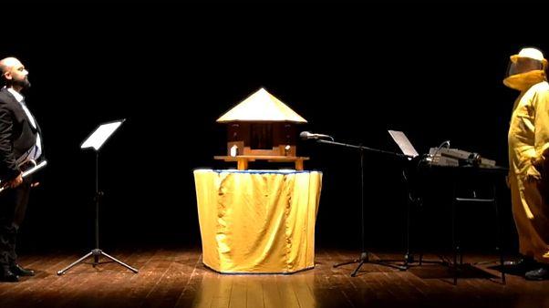 Il trombettista italiano che duetta sul palco con un'arnia di api
