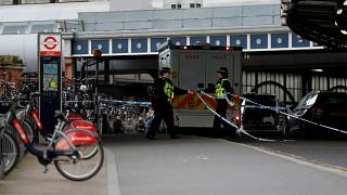 Police officers at Waterloo railway station in London on March 5, 2019