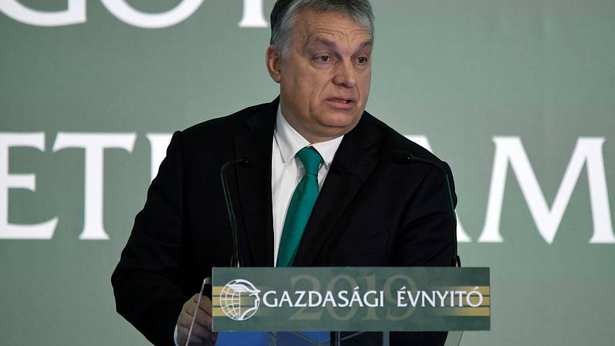 Hungarian Prime Minister Viktor Orban speaking at a business conference