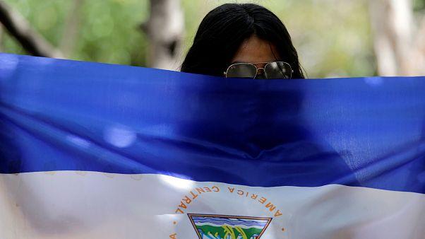 Manifestante durante una protesta contra el presidente Daniel Ortega