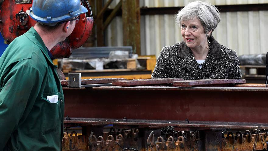 UK PM Theresa May visits a steel works in Newport, Wales, April 25, 2017
