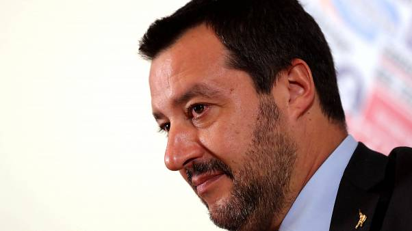 Italian Deputy Prime Minister Matteo Salvini at a news conference in Rome