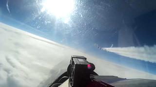 The view of a US aircraft from the cockpit of a Russian SU-27