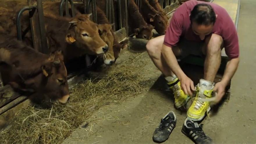 Practising his best mooves: Farmer skates in front of his cows