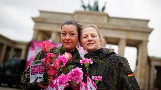 German female soldier in Berlin, Germany, March 8, 2019.