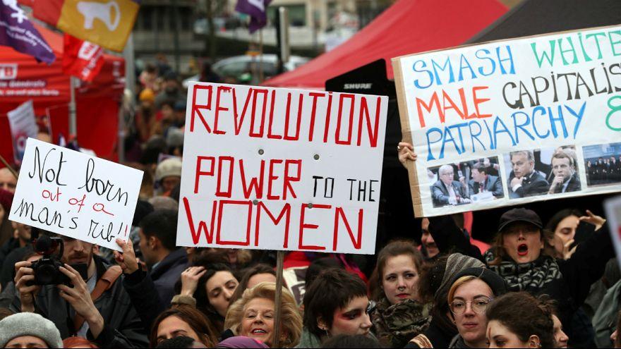 تظاهرات و اعتصاب در بروکسل همزمان با روز جهانی زن