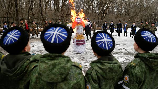 Russian prison inmates compete during Maslenitsa festivities