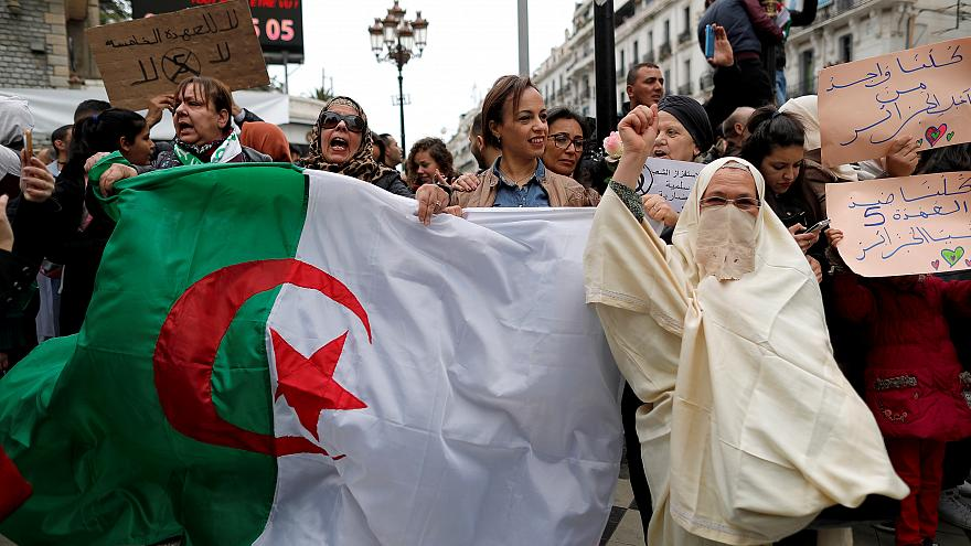 People protest against President Abdelaziz Bouteflika in Algiers, March 8.