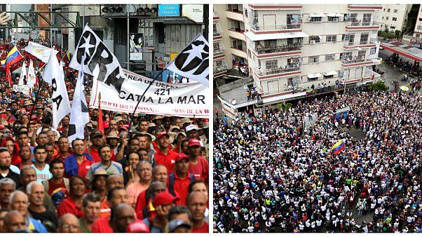 زورآزمایی خیابانی هواداران مادورو و گوایدو در پایتخت ونزوئلا