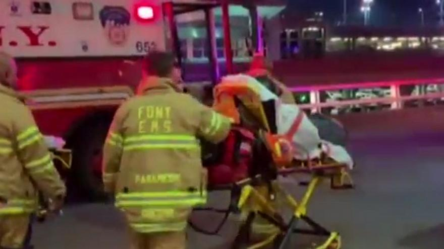 Injured passengers are taken to hospital in New York