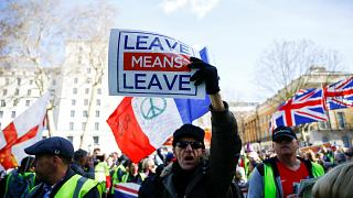Pro-Brexit protesters in London on March 9, 2019.
